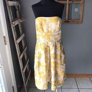 Ann Taylor Gold Floral Cotton Silk Strapless Dress